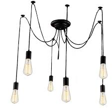 lemonbest 6 head e27 vintage diy ceiling chandelier light fixtures antique adjule flush mount pendant light lamp