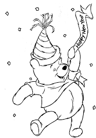 Small Picture Winnie The Pooh Happy New Year Coloring Page Cartoon Coloring