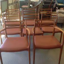 danish modern j l moller teak dining table chairs