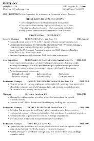 resume for restaurants resume sample restaurant supervisor
