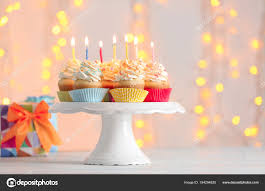 Birthday Cupcakes With Candles Stock Photo Belchonock 184294820