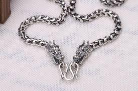 6mm handmade thailand 925 sterling silver dragon necklace for men vintage pure silver dragon necklace