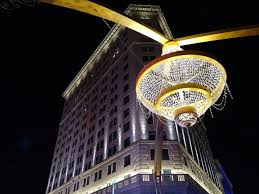 the 20 foot tall chandelier hangs above the intersection of e 14th street and euclid avenue