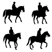 horse riding clipart black and white. Beautiful Riding People Riding Horses Silhouettes  Vector Illustration Inside Horse Riding Clipart Black And White U