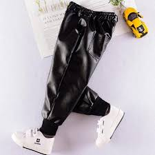 childrens clothing leather pants pu trousers for boys boot pants plus velvet pencil pants kids clothes