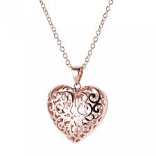 9ct rose gold filigree heart pendant