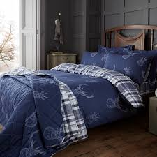 super king duvet cover brushed cotton stag navy tap to expand