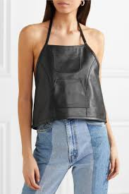 sandy liang womens tops congee buckled backless leather top black