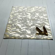 large gold chevron cowhide rug