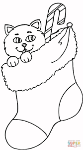 Small Picture Cat In Stocking coloring page Free Printable Coloring Pages