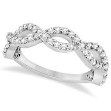 infinity band. twisted infinity semi-eternity diamond band 18k white gold (0.60ct)