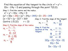 find the equation of the tangent to the circle x2 y2 10x 24y