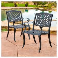 Hallandale Set of 2 Cast Aluminum Patio Chairs Black Sand