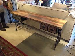 sofa table by rogue decor co. reclaimed oak flooring top, sewing ...