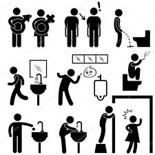 Funny Public Toilet Concept Icon Symbol Sign Pictogram Stock