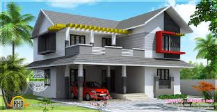 Indian Roof Boundary Wall Design Sloping Roof House With Contemporary Mix Design Kerala