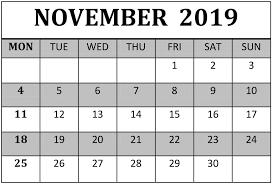 November 2019 Calendar Template Pdf Word Excel Format
