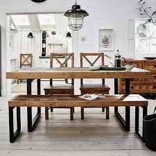 modish furniture. Standford Industrial Reclaimed Wood Extending Dining Table With Chairs And Bench - Modish Living Furniture