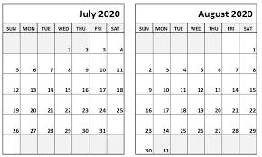 Blank July August 2020 Calendar September Calendar August