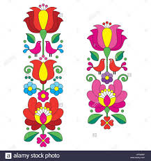 Hungarian Folk Embroidery Designs Seamless Kalocsai Embroidery Hungarian Floral Folk Art