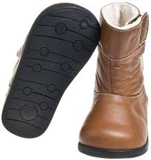 girls boys toddler kids leather brown tan fleece lined boots size 6 10