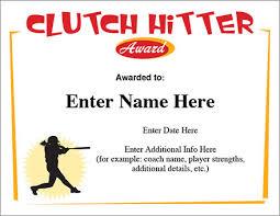 Clutch Hitter Certificate Softball Template