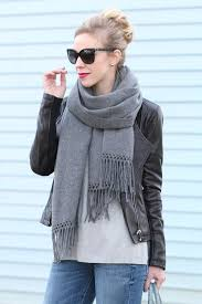 nordstrom gray cashmere wrap scarf calvin klein black leather moto jacket with silver detail chanel quilted leather trim cateye sunglasses
