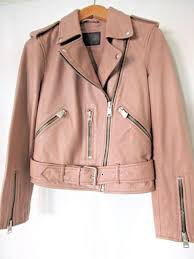 allsaints balfern soft leather biker jacket blush pink xs uk 4 us 0 eu 32