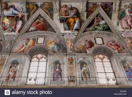 the sistine chapel ceiling painted by michelangelo and the north wall
