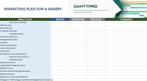 Marketing Plan For A Bakery Free Download Excel Template