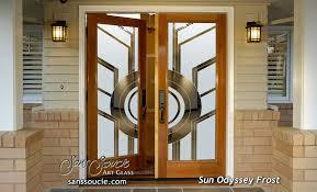 double entry doors gl etching circles linear geometric shapes art deco design sans soucie sun odyssey