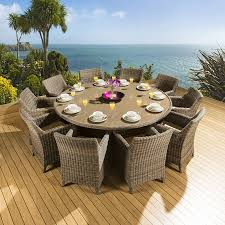 rattan garden dining set round table 10 large carver chairs mocha 2m