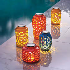 not only do brightly colored solar lanterns add beauty to your deck patio or porch but they provide you with added light either hang or place them on a