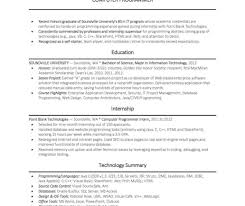 Visual Basic Programmer Sample Resume Resume Outline Templates