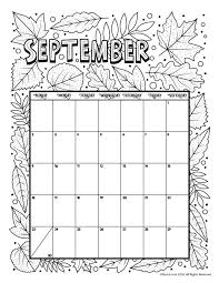 September 2018 Coloring Calendar Page Coloring Pages Calendar