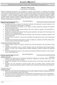 Construction Project Manager Resume Samples Resume Sample