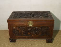oriental carved free standing camphor wood chest