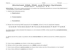 Worksheet: Dna, Rna, And Protein Synthesis – Guillermotull.COM