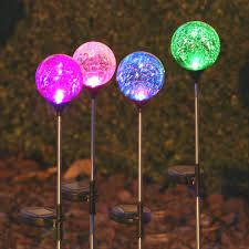 Chameleon Crackled Glass Orb Solar Stake Light