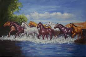 hand painted animal oil painting on canvas realism eight horses canvas painting wall art painting picture for home decoration