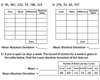 Mean Absolute Deviation Chart Mean Absolute Deviation Worksheets