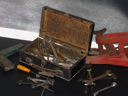 tool box wooden with tools
