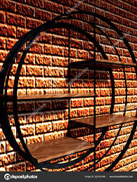 3d wooden shelves with steel on brick wall stock image