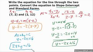 writing linear equations in 3 forms given 2 points