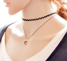 cute black moon pendant double layer weave choker necklace