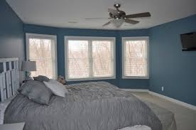 Gray And Blue Bedroom.