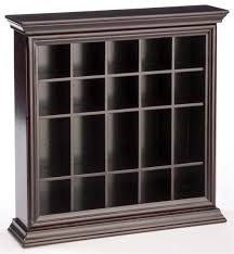 displays2go 20 shot glass display case holder glossy mahogany finish countertop or wall mount open front holds double or single shot glasses mdf wood