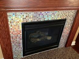 glass mosaic tile fireplace
