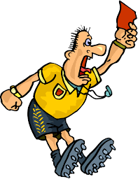 Drawn soccer referee with a red card free image download