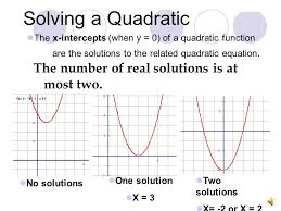 solving a quadratic the number of real solutions is at most two